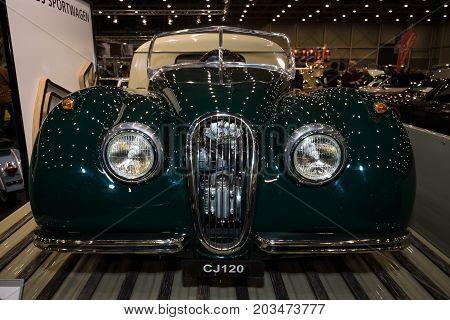 MAASTRICHT NETHERLANDS - JANUARY 09 2015: Junior cars Jaguar CJ120. International Exhibition InterClassics & Topmobiel 2015