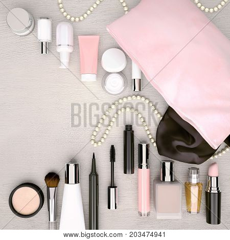 Make up bag cosmetics products and fashion accessories located on the light gray wooden background. Top view. 3D illustration