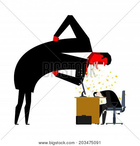 Angry Boss Is Scolding Manager. Office Life. Businessman Screaming At Subordinate. Desktop At Comput