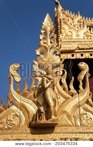 A detail of a temple on the religious site of the Shwezigon Pagoda in the town of Nyaung-U near Bagan in central Burma
