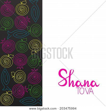 Rosh hashana greeting card with abstract apple, pomegranate and fish illustration. Modern design of a greeting card to the Jewish New Year in trendy colors.