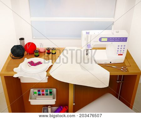 Still life with a sewing machine embroidery details and cloth. 3D illustration