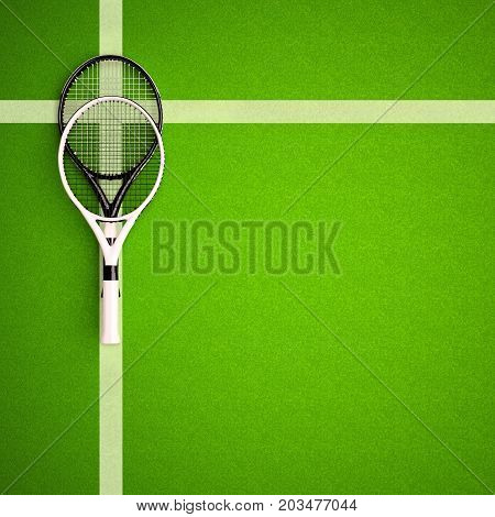 Tennis rackets on hard surface court. Square. Tennis backgrounds. Top view. 3D illustration