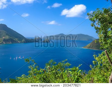 Spectacular overlook of bay of Anse du Bourg in Terre-de-Haut, considered the third bay in the world for beauty. Archipelago of Les Saintes, 15 kilometers from Guadeloupe, Antilles, Caribbean.
