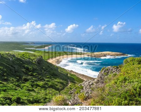 Spectacular panoramic view from Castle Point on Colibris Point, located on extreme east of the mainland 11 km from Saint-Francois in Guadeloupe, Grande Terre, Caribbean.