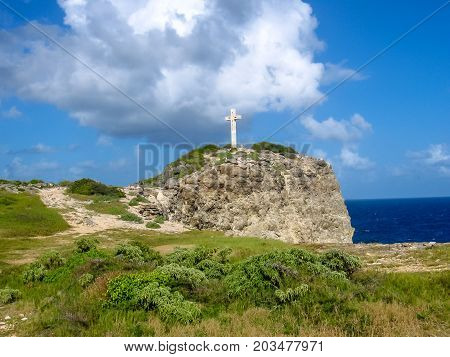 The famous trekking for a cross of Pointe des Chateaux, Guadeloupe, Grande Terre, Caribbean.