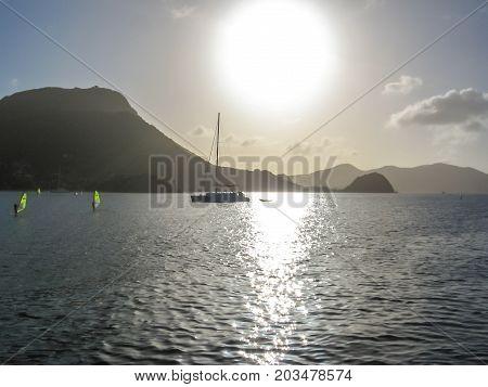 Coastal sundown scenery on a caribbean island named Guadeloupe, Antilles. poster
