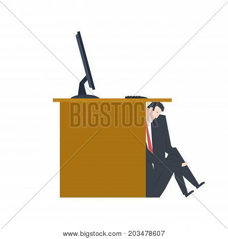 Businessman Is Hiding Under Table. Manager Is Lurk From Boss. Vector Illustration