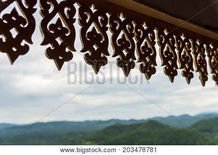 silhouette with nature background, Wood fretting. One of the most important places in the district of Li it is also a viewpoint of the city where you can see the sunrise in the morning mist.