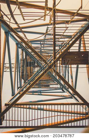 Old Rusty Abandoned Building Gantry Crane On Rusty Rails.