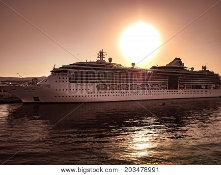 Civitavecchia Italy - August 27 2017: Luxury cruise ship docked at Civitavecchia port the most important port close Rome Italy.