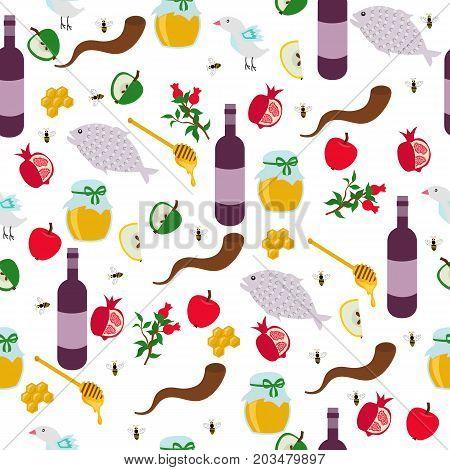 Rosh Hashanah seamless pattern. Shana Tova or Jewish New year symbols. Vector illustration.