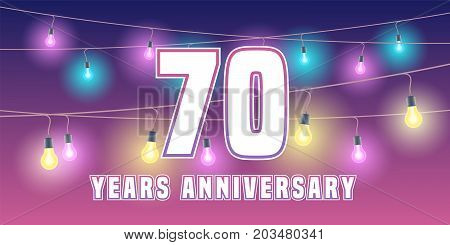 70 years anniversary vector icon, banner. Graphic design element or logo with abstract background for 70th anniversary
