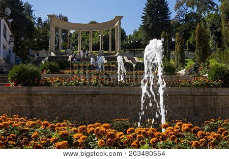 KISLOVODSK, RUSSIA - SEPTEMBER 09, 2017:The ancient Cascade stairs - tourist attraction.Resort park - ornament and pride of Kislovodsk,Caucasus, Russia