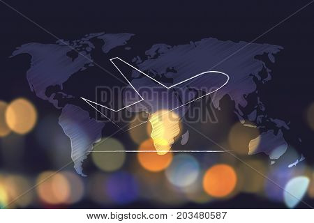 Airplane Taking Off Over World Map Overlay And Nighttime City Bokeh Background