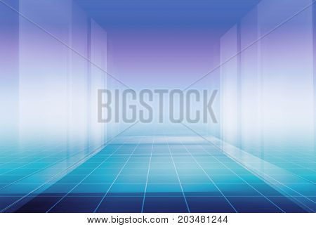 Futuristic Modern High tech Enclosed Studio Background.