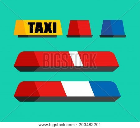 Police, Taxi  And Ambulance Car Flasher Set. Car Light Sign. Vector Illustration