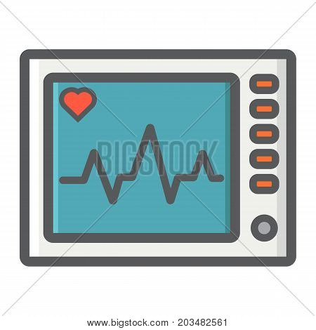 Ecg Machine filled outline icon, medicine and healthcare, heartbeat sign vector graphics, a colorful line pattern on a white background, eps 10.
