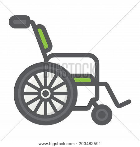 Wheelchair filled outline icon, medicine and healthcare, disabled sign vector graphics, a colorful line pattern on a white background, eps 10.