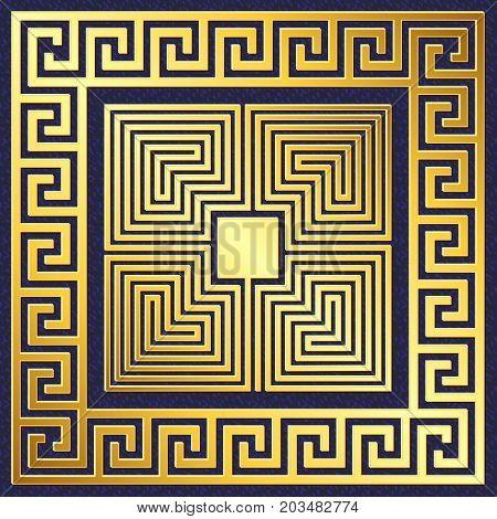 Traditional vintage Golden square Greek ornament, Meander pattern on blue background
