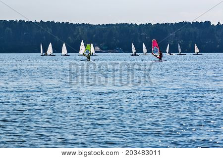 The river Berd BerdskNovosibirsk oblast Siberia Russia - August 2 2017: yachts and Board sailing on the river in the Gulf of Berdsk