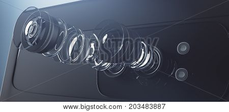 Disassembled Smartphone Camera, Equipment Concept