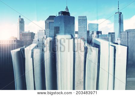 Abstract book on creative city background. Library concept. Double exposure