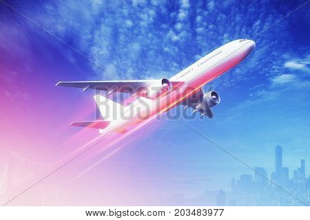 Side view of taking off plane on beautiful sky background. Jet concept. 3D Rendering