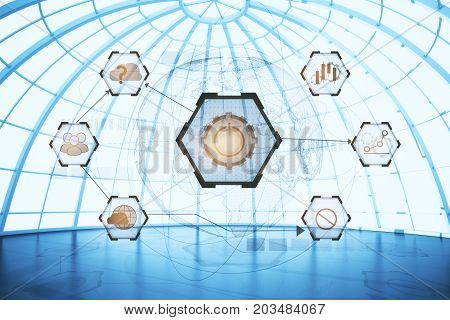 Empty spherical glass interior with digital business hologram. Innovation and network concept. Double exposure