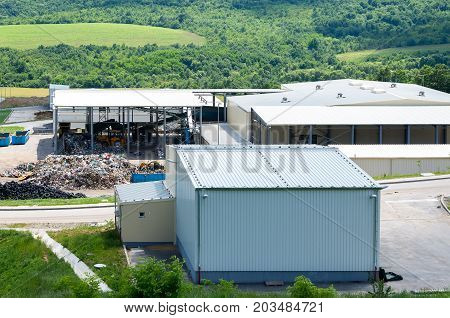 Urban landfill. Waste treatment plant depot, preparing it for separation.