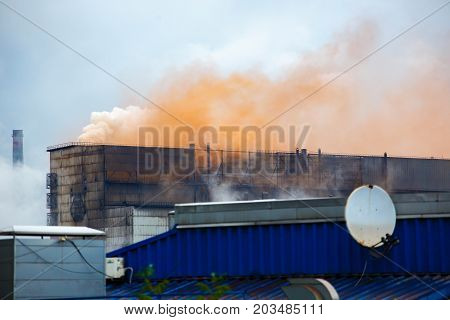 Heavy Industrial Iron Plant Emissions, Environmental Pollution, Factory Pipe Polluting Air