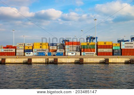 GDANSK POLAND - APRIL 08 2017: Stack of international cargo containers on DCT Container Terminal at Ports of Gdansk.