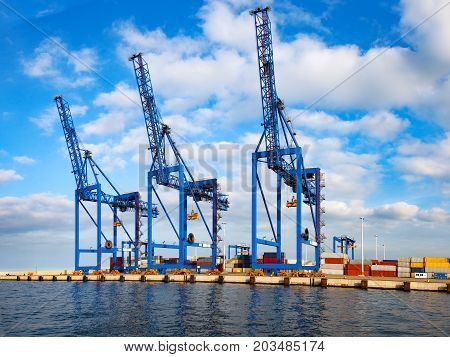 A large crane used for loading containers on cargo ships.