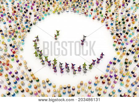 Crowd of small symbolic jester figures smile 3d illustration horizontal isolated over white