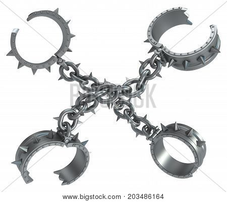 Shackles spiky chains crossed dark metal 3d illustration isolated horizontal over white