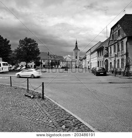 Kravare, Czech Republic - August 12, 2017: Road 15 Leading Around Square At Summer Holidays In Touri