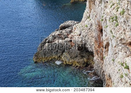 This is the rocky coast of the one of Croatian islands.