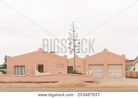 HENTIES BAY NAMIBIA - JUNE 29 2017: Many homes in Henties Bay a town on the Skeleton Coast of Namibia have personalised names