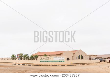 HENTIES BAY NAMIBIA - JUNE 29 2017: The Apostolic Faith Mission Church in Henties Bay a well known holiday town on the Skeleton Coast of Namibia