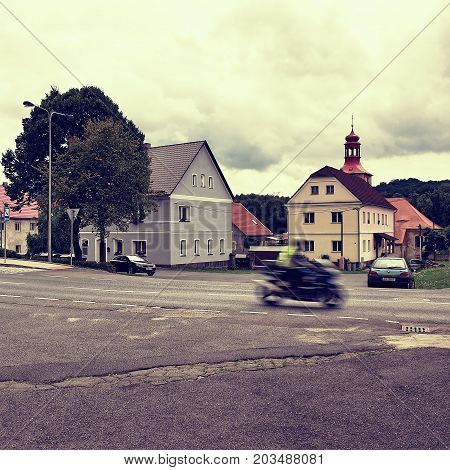 Stvolinky, Czech Republic - August 19, 2017: Route 15 With Moving Motorcycle On Road 15 Leading Arou