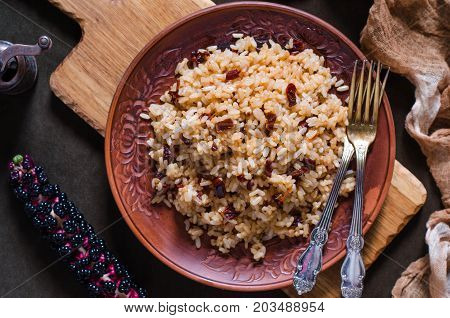 Rice with dried tomatoes and soy sauce