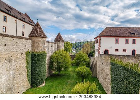 Fortress Marienberg is a symbol of Wurzburg Germany. Wall and garden