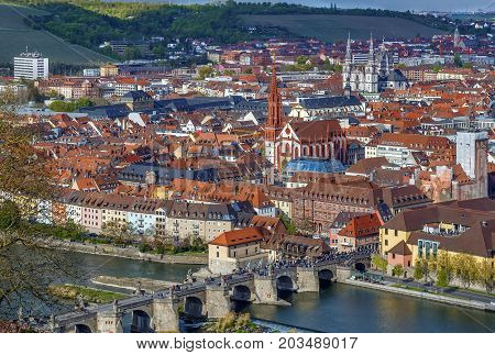 View of historical center of Wurzburg from Marienberg Fortress Germany