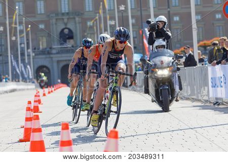 STOCKHOLM - AUG 26 2017: Group of female triathlete cyclists in the Women's ITU World Triathlon series event August 26 2017 in Stockholm Sweden