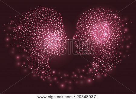 Man and woman head. Abstract couple face silhouette with circles. Vector illustration