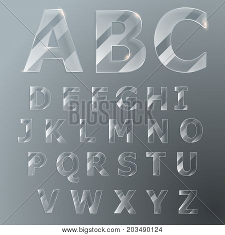 Glass Font. Vector Latin Alphabet.