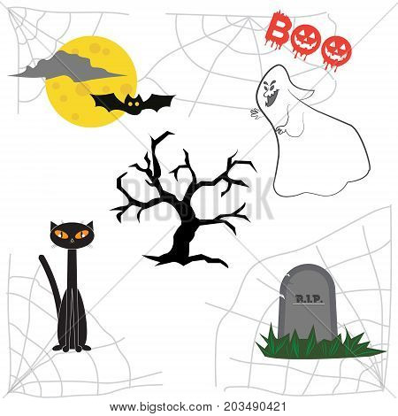 Collection of cute items Halloween characters for your design