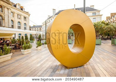 ORLEANS, FRANCE - August 01, 2017: View on the Martroi square with Orleans letter monument in Orleans city in France