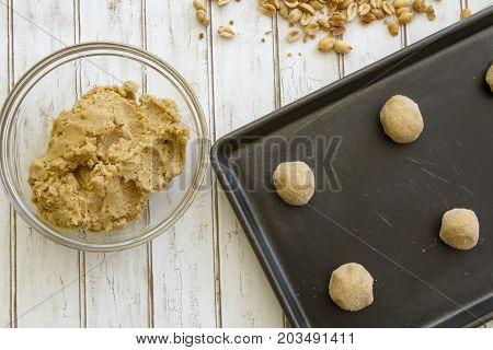 Peanut Butter Cookie Dough On Baking Sheet