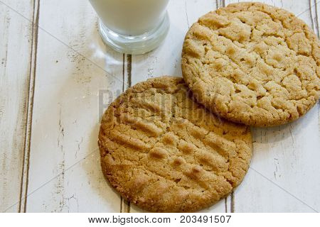 Fresh Peanut Butter Cookies And Milk